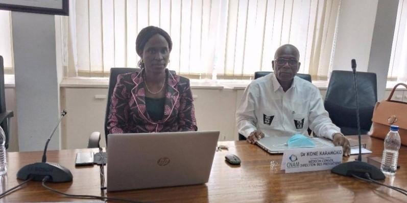 La directrice de l'affiliation à la Caisse nationale d'assurance maladie (Cnam), Koné Karidja, faisant le point sur l'état d'avancement de la Couverture maladie universelle (Cmu).