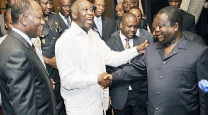 Rencontre entre les trois leaders Henri Konan Bédié, Laurent Gbagbo et Alassane Ouattara. (DR)