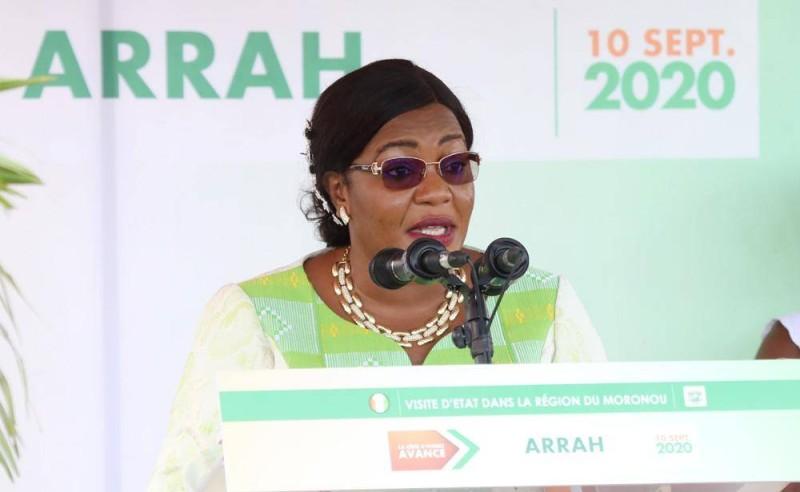 Le maire d'Arrah, Kouamé Badou Harlette, s'est félicitée de ce déplacement du Président Ouattara, dans son département. (Dr)