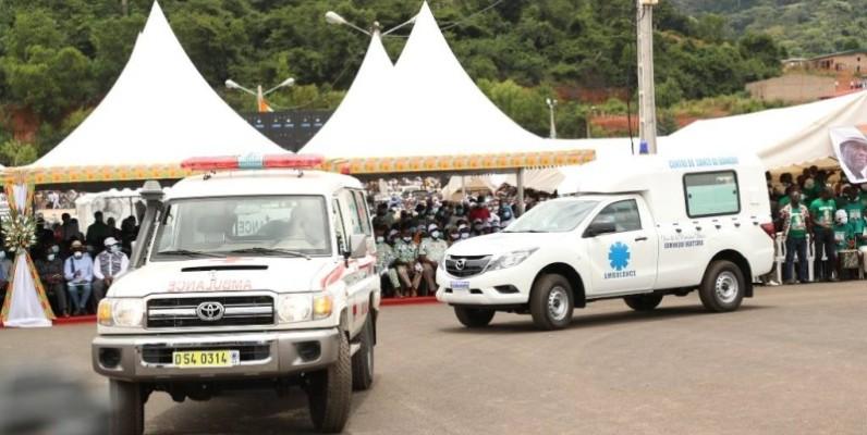 Une vue des véhicules offerts par le Chef de l'Etat. (DR)