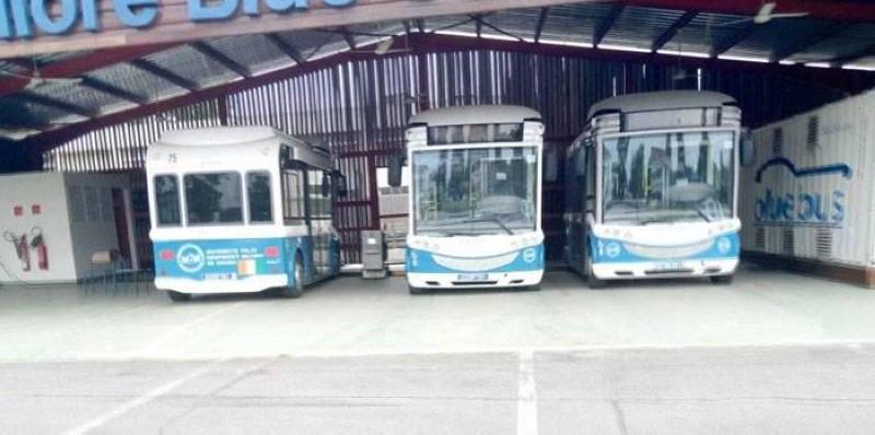 Une vue des bus transportant les étudiants sur le campus, stationnés. (Photos: Francis Kouamé)