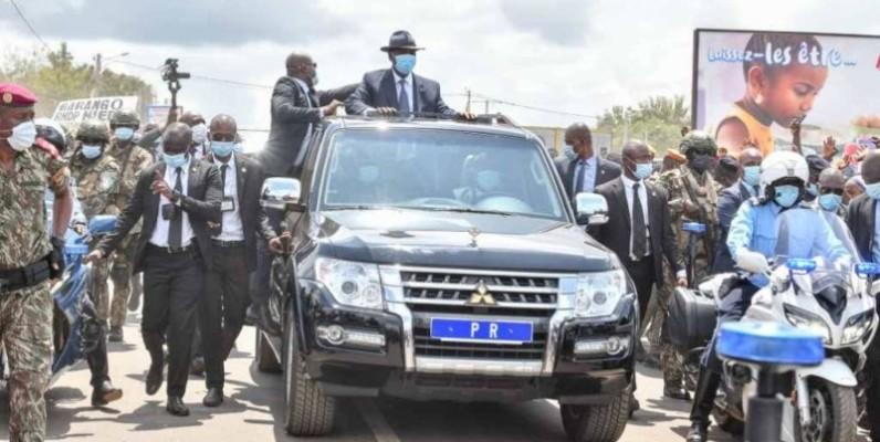 L'arrivée du Chef de l'Etat, Alassane Ouattara, à Bouaflé. (DR)