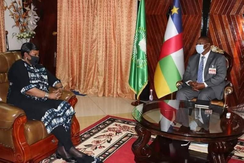 Madame Fatou Bensouda, Procureur de la CPI, rencontre le Président de la RCA, S.E. Faustin-Archange Touadéra (DR)