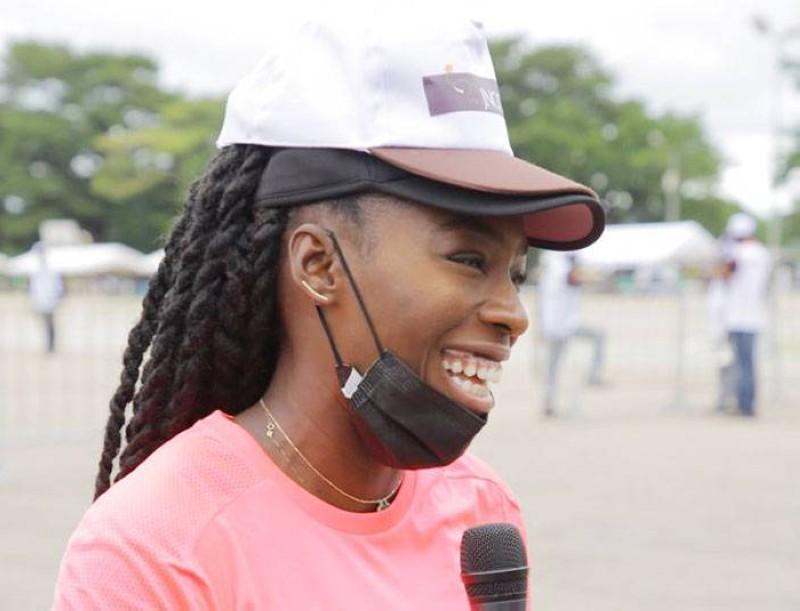 La sprinteuse ivoirienne, Murielle Ahouré, est ambassadrice du cacao ivoirien. (DR)