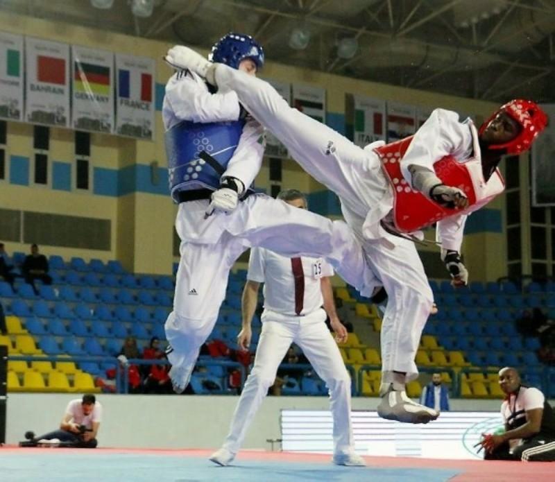 Gbané Seydou, admirable sur ce beau geste technique (coup de pied retourné sauté) est un espoir de médaille à Tokyo. (DR)