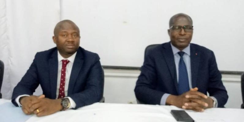 Innocent Koffi Kouakou, président du Mtp (à gauche), accompagné du représentant de la marraine. (DR)