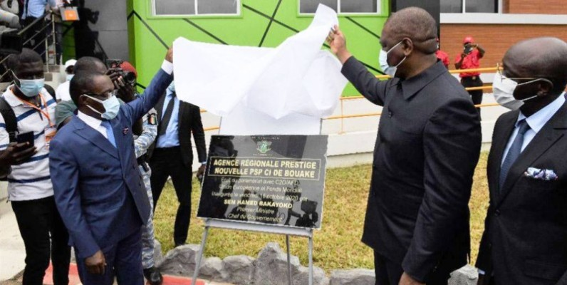 Le Premier ministre Hamed Bakayoko à l'inauguration de l'ouvrage. (DR)