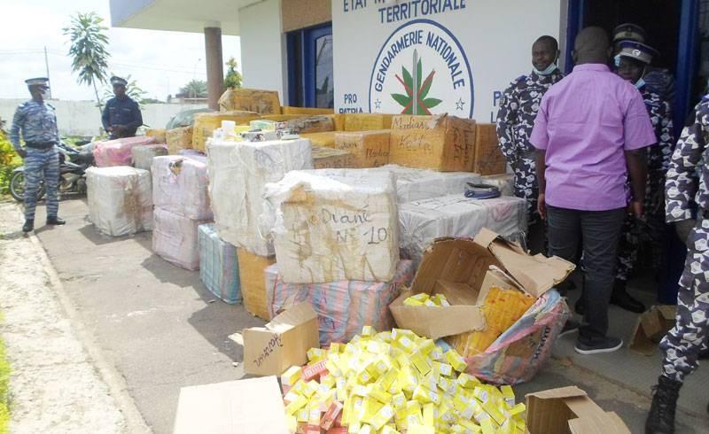 Ce sont 5 tonnes de médicaments de contrbande qui ont été saisis par les fins limiers de la cellule anti-drogue de la gendarmerie de Bouaké. (DR)