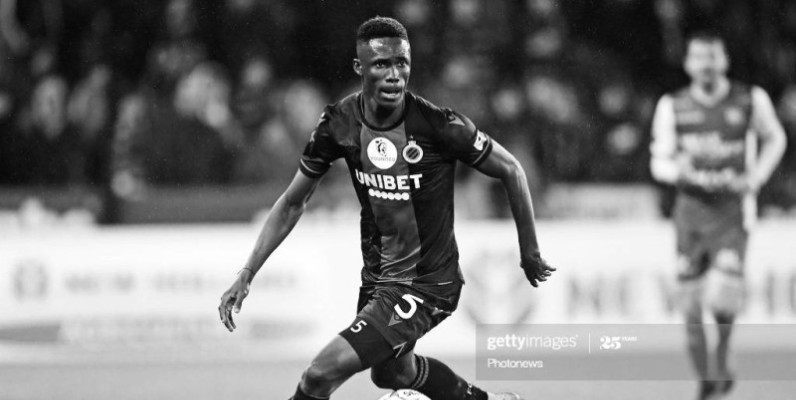 BRUGGE, BELGIUM - DECEMBER 26 : Odilon Kossounou defender of Club Brugge in action during the Jupiler Pro League match between Club Brugge and SV Zulte Waregem at the Jan Breydel stadium on December 26, 2019 in Brugge, Belgium, 26/12/2019 ( Photo by Nico Vereecken / Photo News  via Getty Images)
