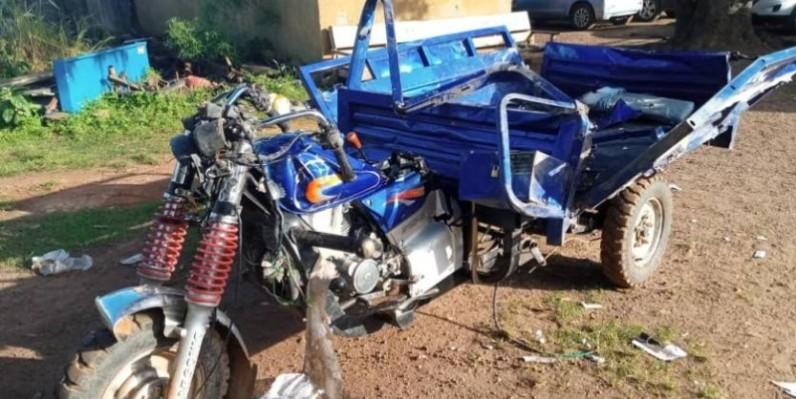 Un tricycle rendu en épave par l'éléphant à Boguédia. (Dr)