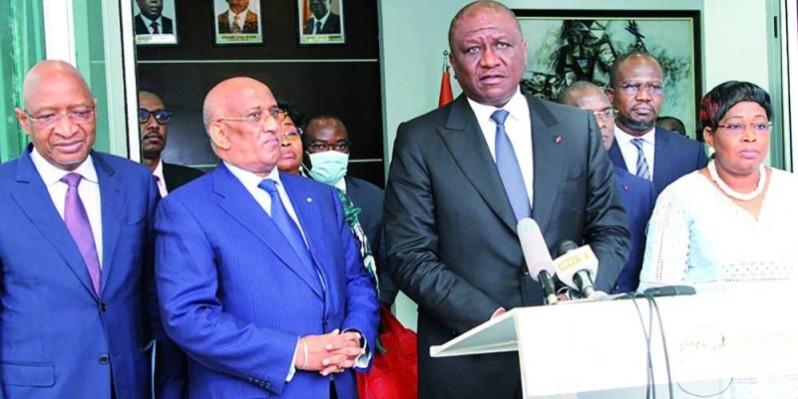 Le chef du gouvernement Hamed Bakayoko a échangé hier avec une mission de l'Ua pour l'observation des élections. (Ph Joséphine Kouadio)
