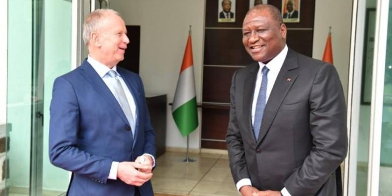 Le Premier ministre Hamed Bakayoko recevant le diplomate allemand. (DR)