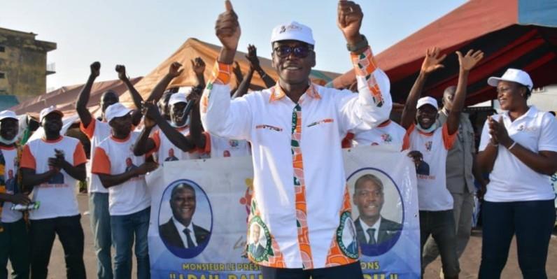 Epiphane Zoro Ballo, coordonnateur régional Rhdp dans la Marahoué, se félicite du vote massif de ses parents en faveur du Président Ouattara lors de l'élection présidentielle. (Dr)