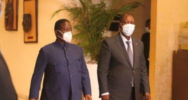 Le Président Alassane Ouattara et Henri Konan Bédié, l'ex-chef de l'Etat