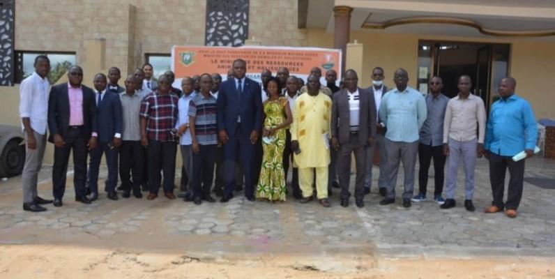 La photo de famille après le lancement du système d'information des matchés bétail-viande de Côte d'Ivoire. (Dr)