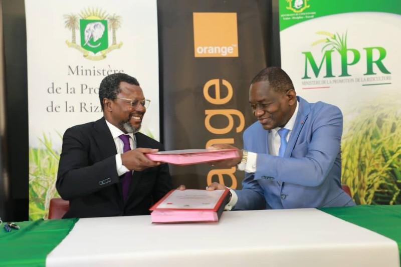 Pour le ministre de la promotion de la Riziculture, Gaoussou Touré, cette cérémonie de signature de protocole d'accord constitue « un moment fort de la nouvelle orientation stratégique, du secteur de la riziculture » (DR)