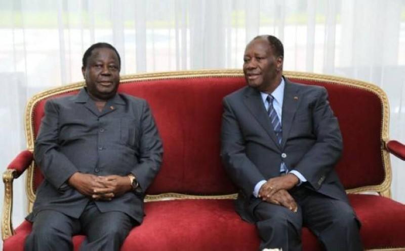 Le président de la Répiblique Alassane Ouattara et le président du Pdci, Henri Konan Bédié lors d'un tête-à-tête (DR)