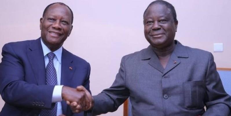 Le Président de la République, Alassane Ouattara et le président du PDCI-RDA, Henri Konan Bédié, entendent reprendre les discussions dans le cadre d'un apaisement. (Dr)