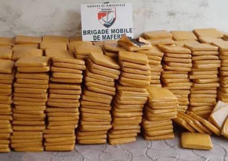 Une vue de la cargaison de drogue saisie à Adiaké. (Dr)
