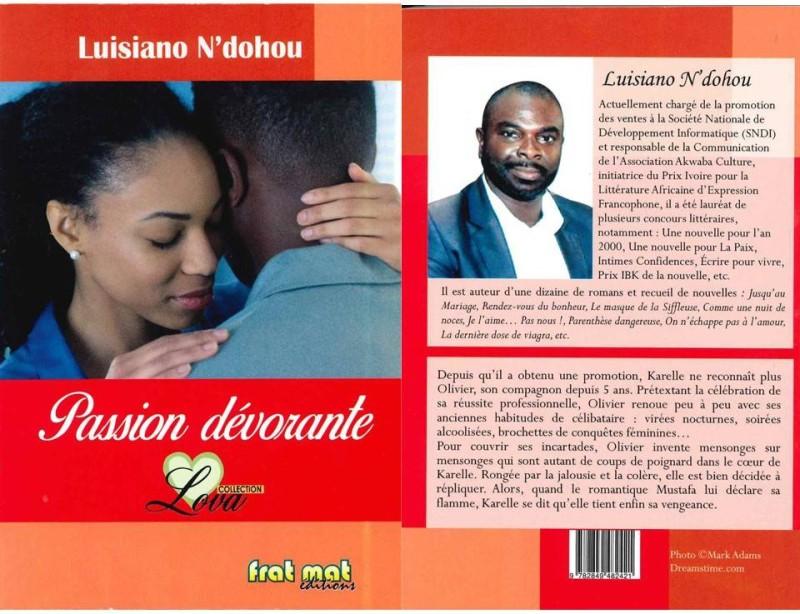 """La couverture de l'œuvre de Luisiano N'Dohou """"Passion dévorante"""". (DR)"""