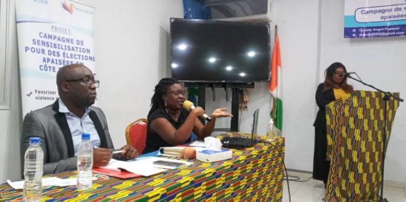 Désirée Deneo, analyste politique, secrétaire générale de la ligue ivoirienne des droits des femmes et Arthur Banga, enseignant chercheur(Marie-Ange AKPA)