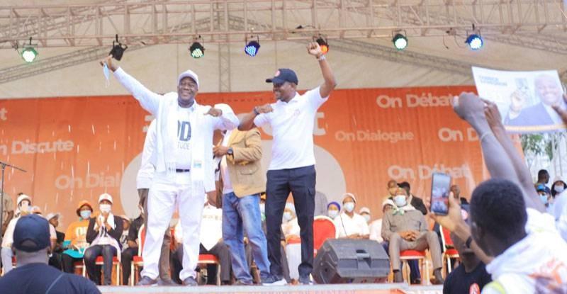 Ouattara Dramane et Fabrice Sawegnon lors du lancement de la campagne. (DR)