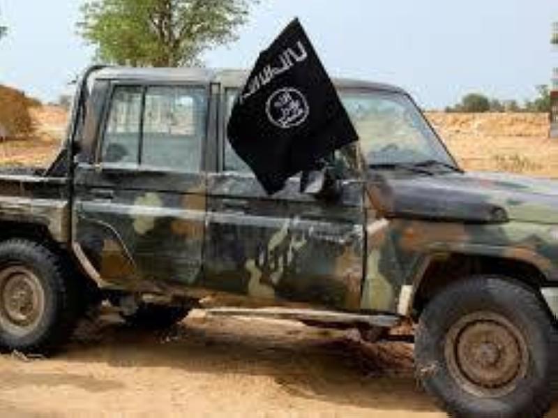 Un véhicule du groupe djihadiste Iswap, récupéré par l'armée nigériane lors d'une opération anti-terroriste. (DR)