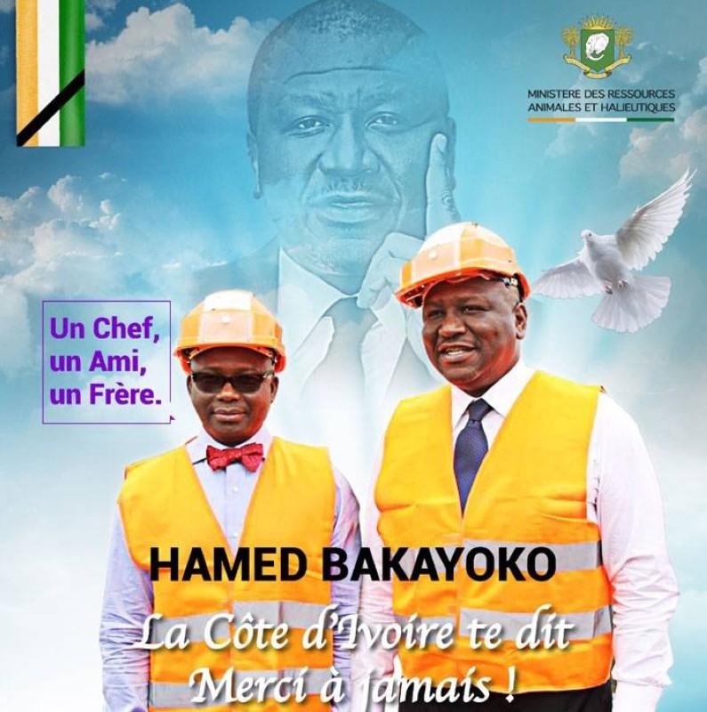 Moussa Dosso (à gauche) rend un vibrant hommage au Premier ministre Hamed Bakayoko. (DR)