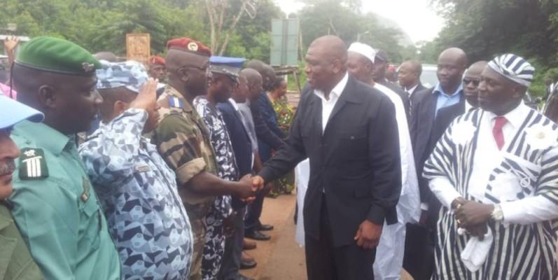 Hamed Bakayoko lors de sa visite à Duékoué en 2014. (Photo : DR)