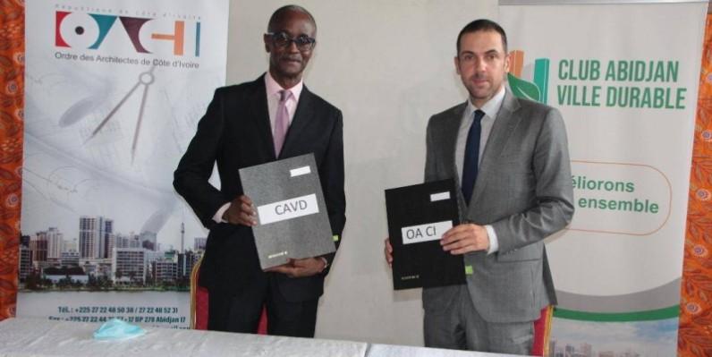 Les présidents du Club Abidjan ville durable et l'Ordre des architectes ont procédé à la signature d'un accord, dans le cadre des villes résilientes. (Ph : DR)