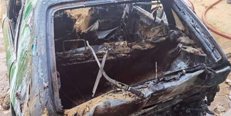 L'état du taxi impliqué après l'explosion. (Gspm)