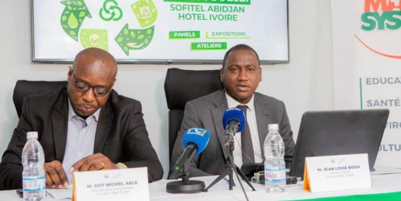 Le directeur exécutif de la Fondation Magic System, Jean-Louis Boua (à droite), a dévoilé les grandes lignes de la foire. (DR)