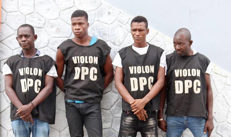Le chef de Gang, Kouma Yacouba (1er à partir de la gauche) et ses acolytes. (Photo : DGPN)