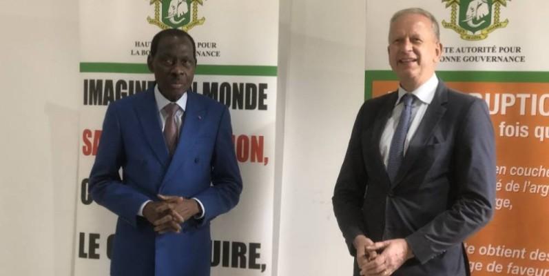 Le président de la Habg, N'Golo Coulibaly et l'ambassadeur allemand, Ingo Herbert se sont félicités de la riche coopération qui existe entre leurs deux pays. (DR)