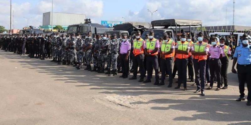 Une vue des Forces de défense et de sécurité lors du lancement de l'opération épervier 6 au rond-point de la mairie d'Abobo. (Photo : DR)