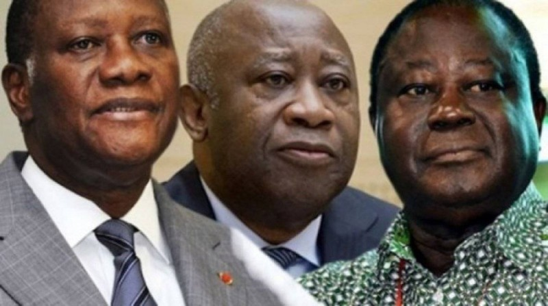 Alassane Ouattara, Laurent Gbagbo et Henri Konan Bédié