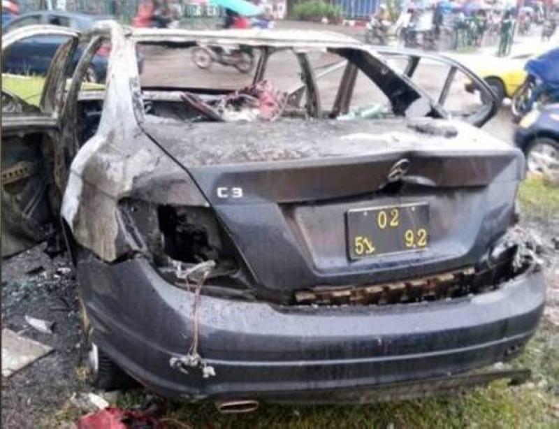 Une vue du véhicule de Tenor calciné après l'accident. (DR)