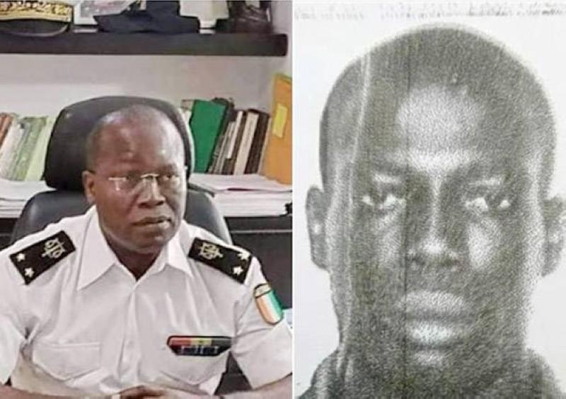 Le Commissaire du gouvernement Ange Kessi (à gauche) a ordonné la mise aux arrêts les policiers soupçonnés dans la mort de l'homme (à droite en noir et blanc). (Photo : Police Secours)