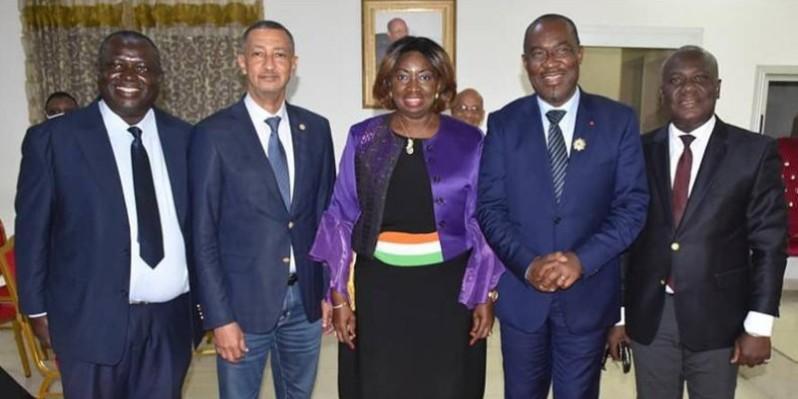 Marie-Agathe Fauquembergue-Amoikon (au centre) entourée du député-maire, Raoul Aby et du député Heimls François. (DR)