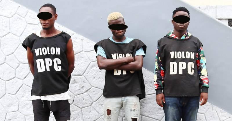Les trois malfrats qui ont perpétré le vol à Angré Cocody CNPS. (Photo : DGPN)