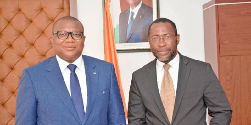 Le ministre Amadou Coulibaly (à gauche) et Serge Abdel Nouho, Dg de la Snpeci. (DR)
