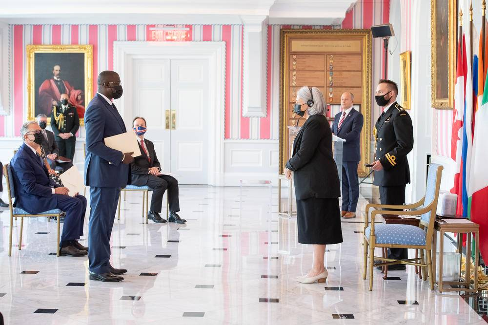 On Septembre 9, 2021, Her Excellency the Right Honourable Mary May Simon, Governor General of Canada, welcomed four new ambassadors to Canada during a formal presentation ceremony at Rideau Hall.