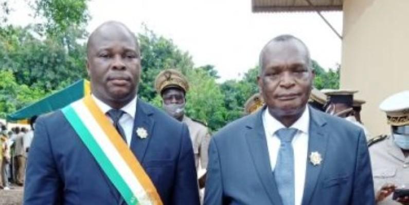 Le député Koné Issiaka et le président du Conseil régional de la Marahoué Zamblé Bi Zephirin saluent les actions du Président de la République. (Dr)